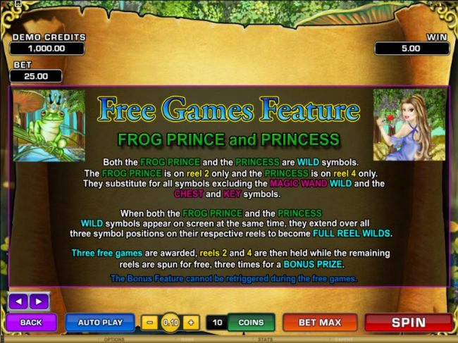 Casino Bonus Beater - free games feature, frog prince and princess, both the frog prince and the princess are wild symbols. the frog prince is on reel 2 only and the princess is on reel 4 only