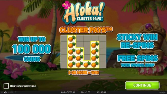 Cluster Pays - 9 or more=win. Win up to 100,000 coins. Sticky Re-Spins and Free Spins with symbol drop.