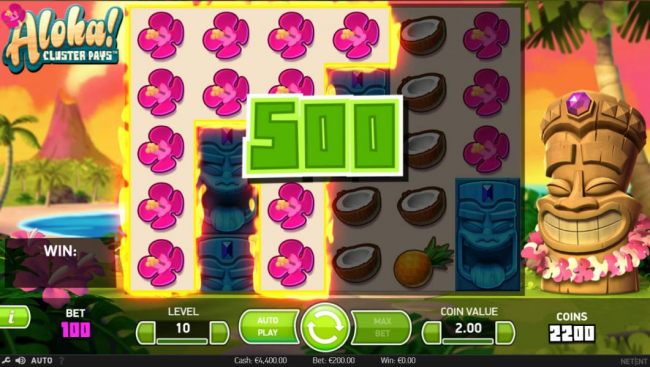 A flower symbol cluster triggers a 500 coin payout.