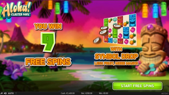 9 free spins awarded with symbol drop, less fruit, more masks.