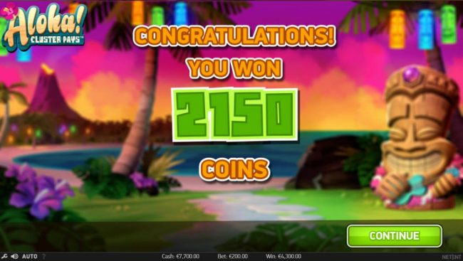 The free spins feature pays out a total of 2,150 coins for a big win.