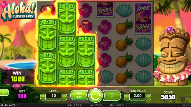 Another 1,000 coin big win triggered by a cluster of green masks.