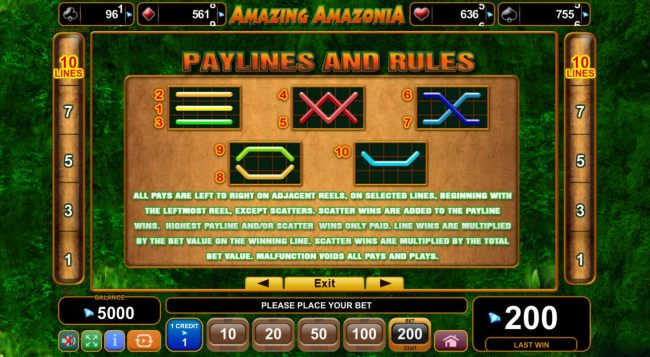 Paylines and Rules