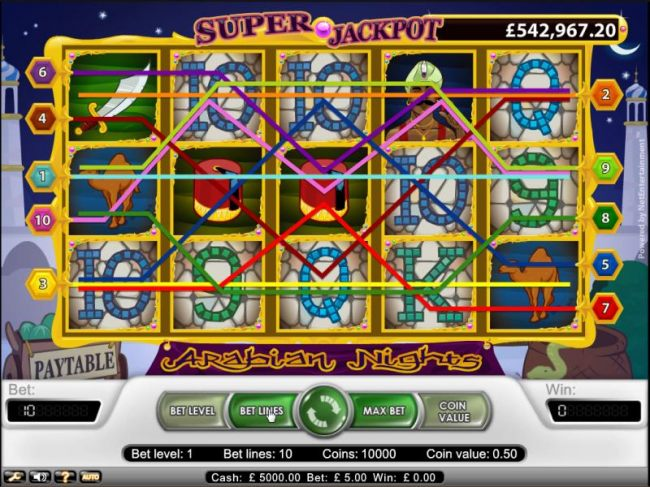 Arabian Nights slot game ten pay lines