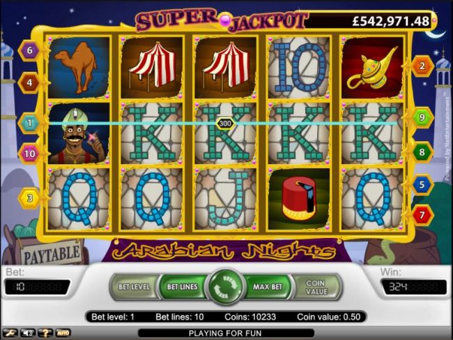 Arabian Nights slot game 300 coin jackpot pay out