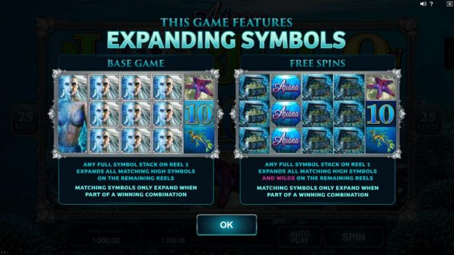 The game features expanding symbols. Any full stack on reel 1 expands all matching high symbols on remaining reels