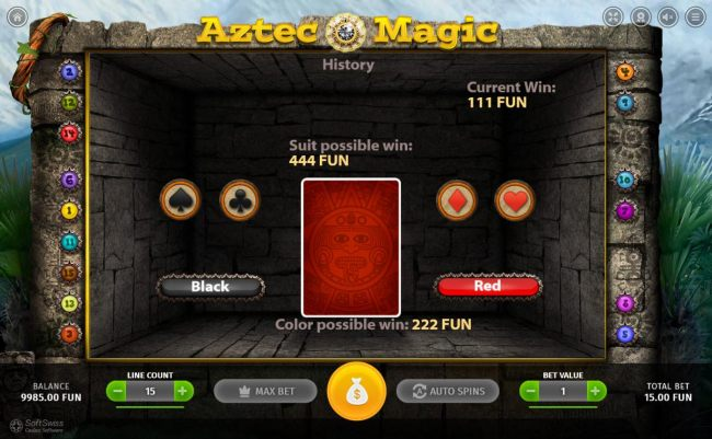 Gamble Feature Rules - The feature is available after each winning spin. Last win amount becomes your stake in the Gamble game. Your goal is to guess the color or suit of the next card drawn.