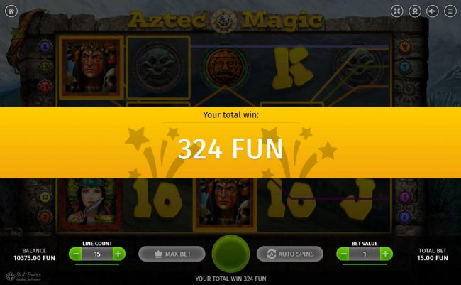 The free spins feature pays out a total of 324.