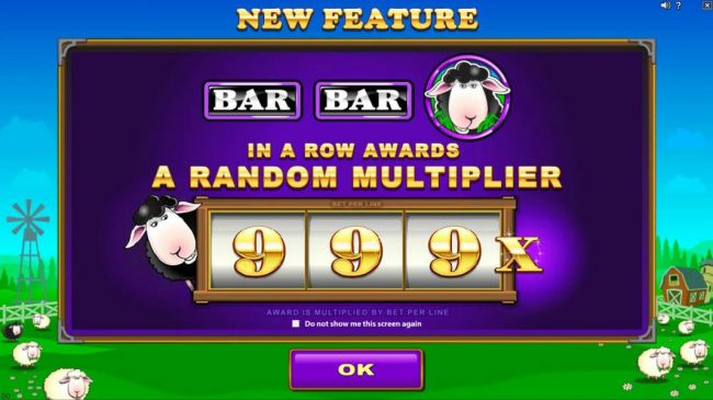 NEW Feature - BAR, BAR, Black Sheep in a row awards a random multiplier up to 999x