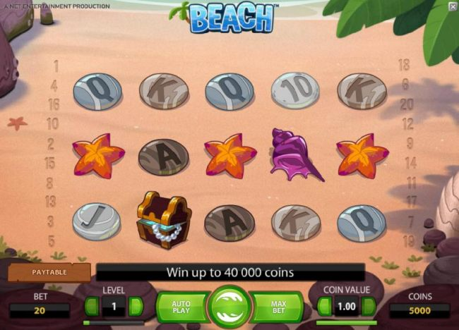 main game board featuring five reels and twenty paylines. win up to 40000 coins