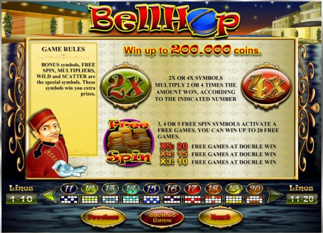 multiplier and free spins feature game rules