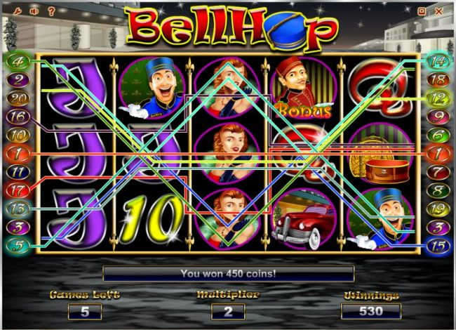 multiple winning paylines triggers a 450 coin big win during the free spins feature