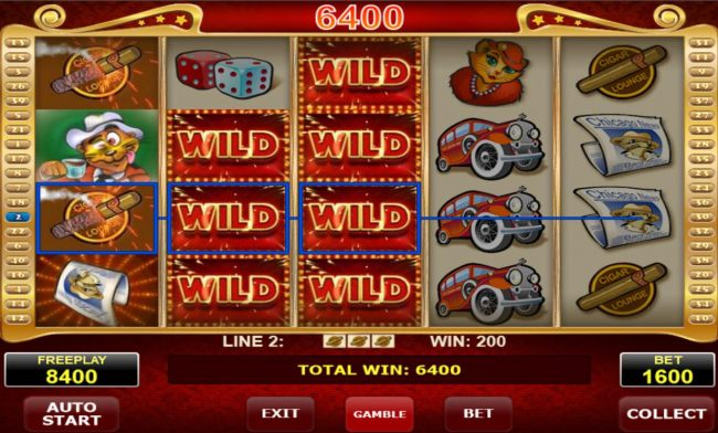 Stacked wild symbols on reels 2 and 3 triggers multiple winning symbol combinations leading to a 6400 coin pay out.