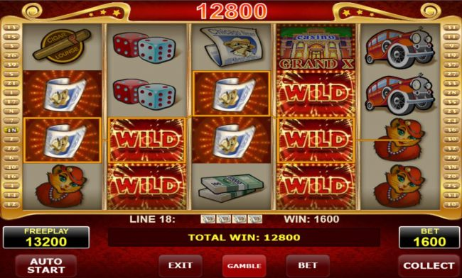 Multiple winning paylines triggers a 12800 credit big win!