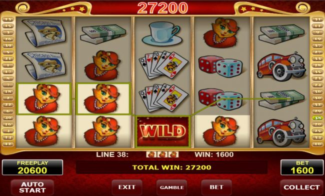 A 27200 coin jackpot triggered by multiple winning paylines.