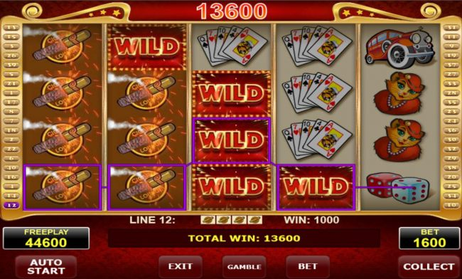 Stacked cigar symbols combine with wilds on multiple winning paylines triggering a 13600 super jackpot win.