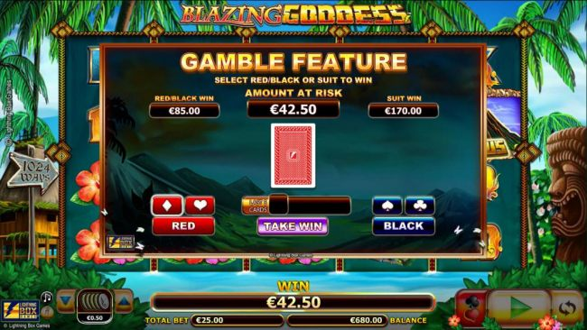 Gamble feature is available after any winning spin. Select red/black or suit to win.