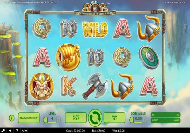 Main game board featuring Viking themed symbols, five reels and 25 paylines with a $203,000 max payout