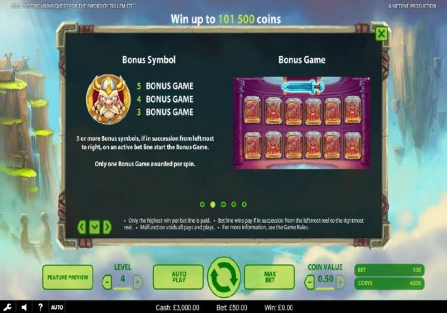 The bonus symbol is represented by a helmeted viking warrior and three or more symbols in succession from leftmost to right, on an active bet line start the Bonus Game.