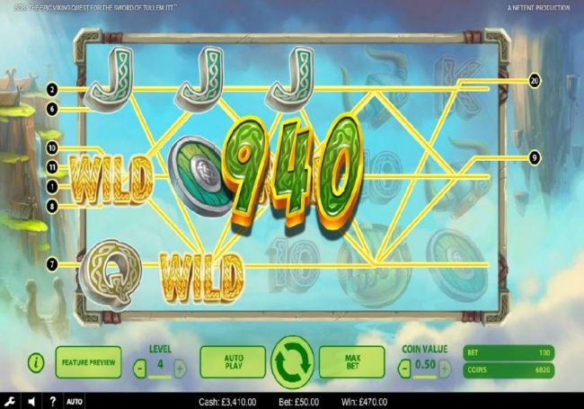 Three wild symbols trigger multiple winning paylines leading to a 940 coin big win!