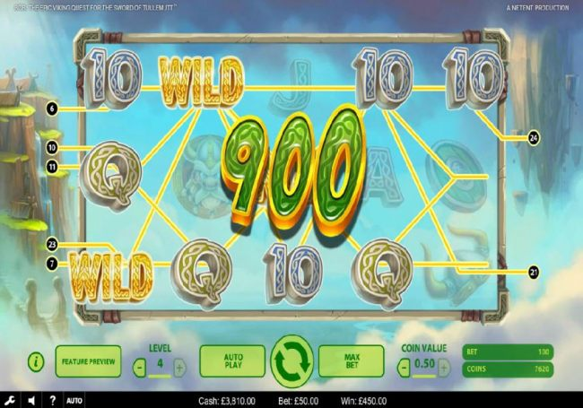 Multiple winning paylines triggers a 450.00 big win!