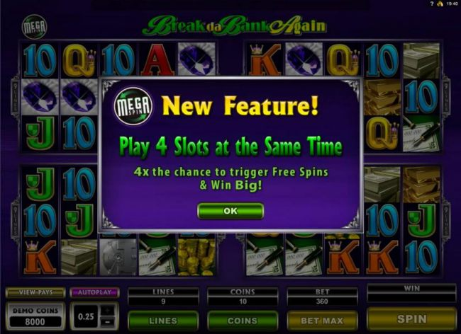 New Feature! Play 4 slots at the same time