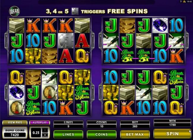 Four of a kond with 5x multiplier trigges a 1780 coin Big Win!a