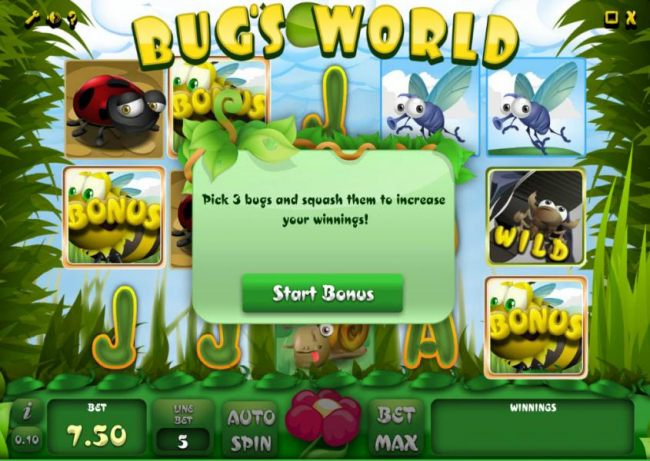 bonus feature triggered - pick three bugs and squash them to increase your winnings