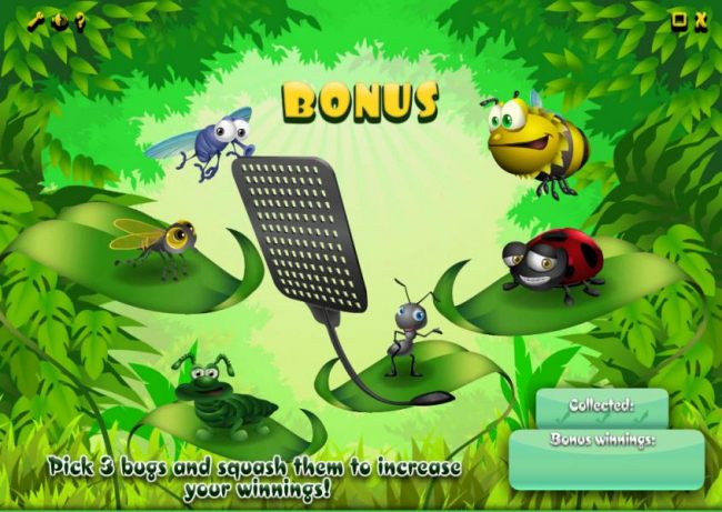 bous feature game board - select 3 bugs to squash and collect prizes