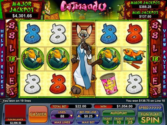 expanding wild triggers 19 winning paylines for a $1054 big win