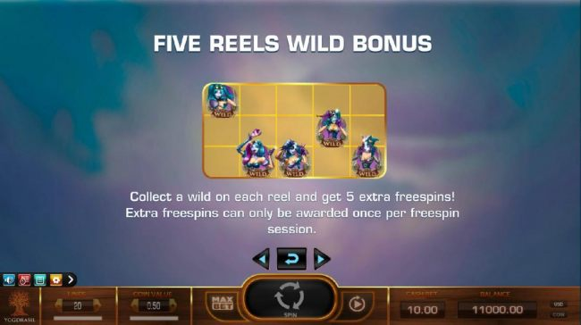 Collect a wild on each reel and get 5 extra freespins! Extra freespins can only be awarded once per freespin session.