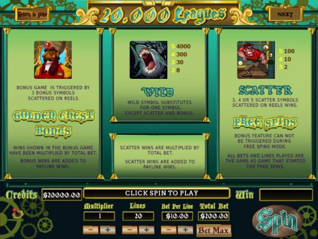 Golden Chest Bonus Game is triggered by three bonus symbols scattered on reels. Wild Symbol substitutes for one symbol except scatter and bonus. 3, 4 or 5 scatter symbols scattered on reels wins Free Spins.