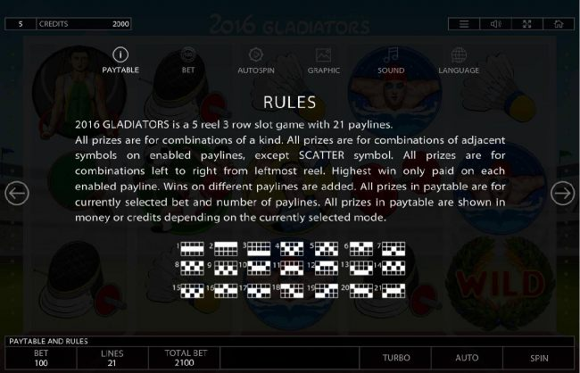 General Game Rules and Payline Diagrams 1-21
