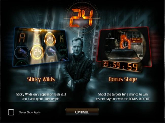 This video slot game features Sticky Wilds on reels 2, 3 and 4 and grant 1 free re-spin. A Bonus Stage where you shoot the targets for a chance to win instant pays or even the bonus jackpot