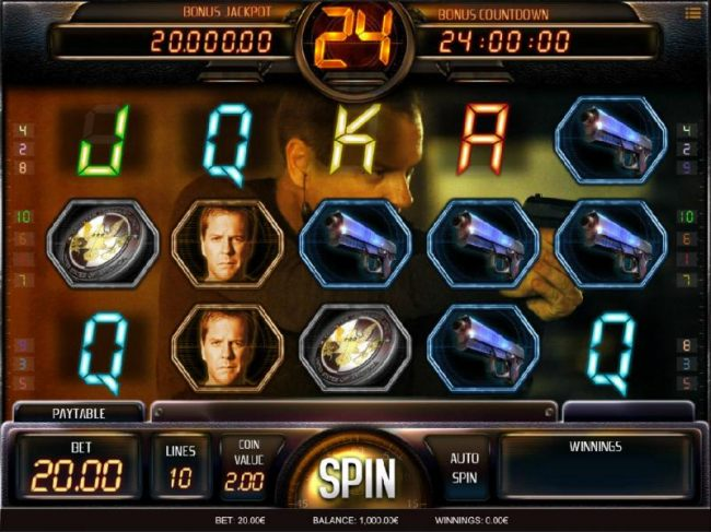 Main game board featuring five reels and 10 paylines with a Bonus Jackpot max payout
