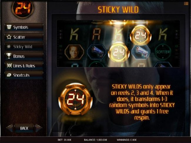 Sticky Wilds only appear on reels 2, 3 and 4. When it does, it transforms 1-3 random symbols into sticky wilds and grants 1 free respin.