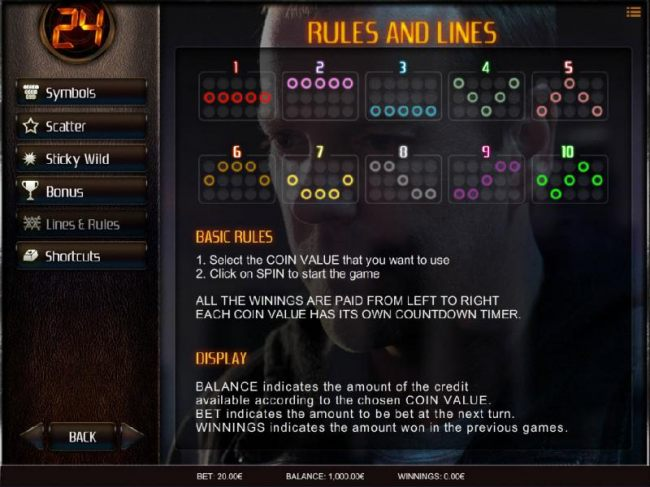 Game Rules and Payline Diagrams