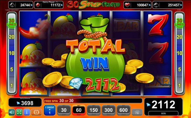 Total Free Spins Payout 2112 credits
