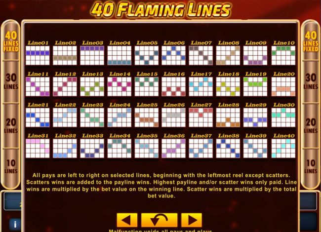 Payline Diagrams 1-40. All pays are left to right on selected lines, beginning with the leftmost reels except scatters.