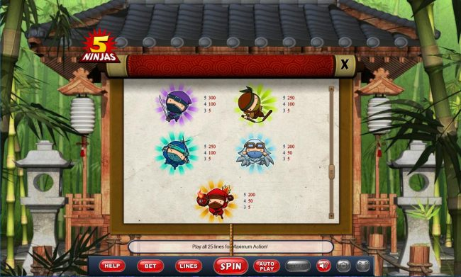 Low value slot game symbols paytable
