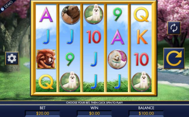 A dog themed main game board featuring five reels and 1024 winning combinations with a $1,280 max payout