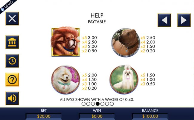 High value slot game symbols paytable featuring dog inspired icons.