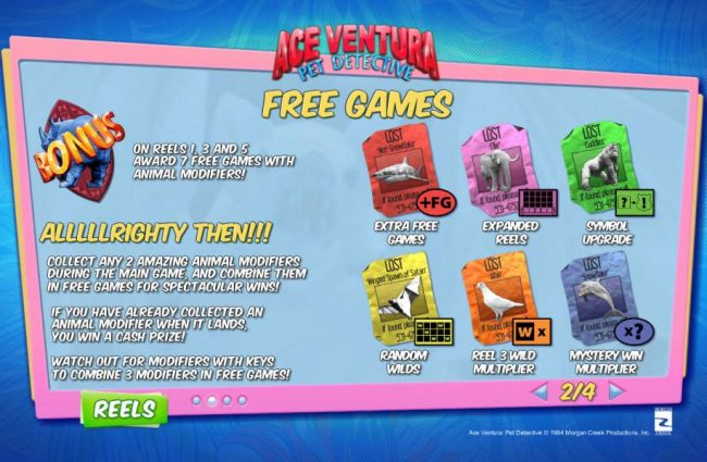 Free Games are triggered by the Rhino Bonus symbol landing on reels 1, 3 and 5 and awards 7 free games with animal modifers.
