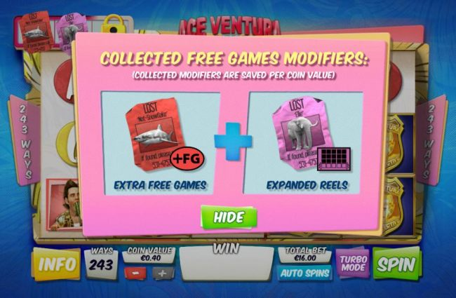 Collected free game modifiers, collected modifiers are saved per coin value.