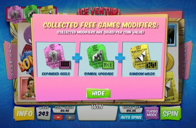once you find the key you will have three free game modifiers available during the free games feature.