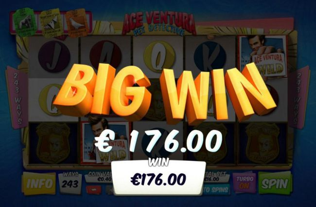 A 176.00 big win triggered by a five of a kind.