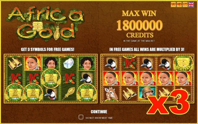 Game features include: Free Games, Scatters, Wilds and a Max Win of up to 1800000 credits