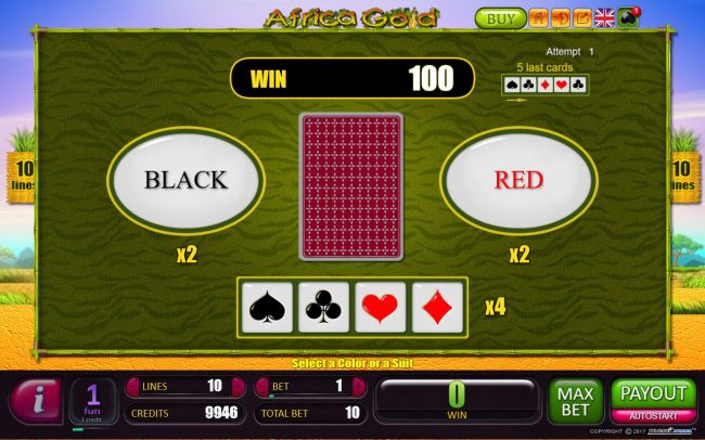 Red-Or-Black Risk Game - To gamble any win press Gamble then select Red or Black.
