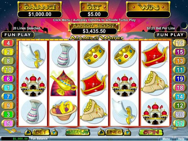 An Arabian fairy tale themed main game board featuring five reels and 20 paylines with a $12,500 max payout