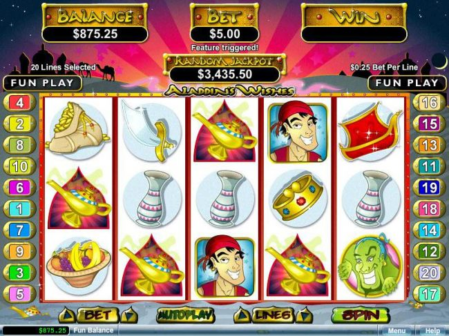 Three or more Magic Lamp scatter symbol anywhere on the reels left to right or right to left triggers the Bonus Feature.